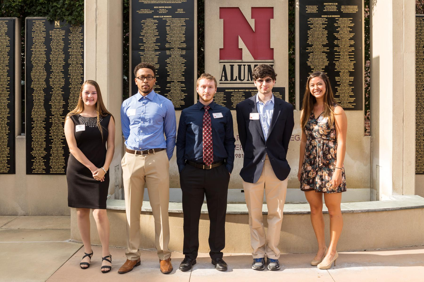 Summer Research Program students at the annual banquet. From left to right: Brooke Lampe, Quavanti Hart, Andrew Snyder, Jesse Schulman, and Victoria Moran.