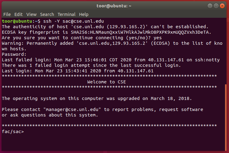 ubuntu terminal window showing successful secure shell connection to remote host