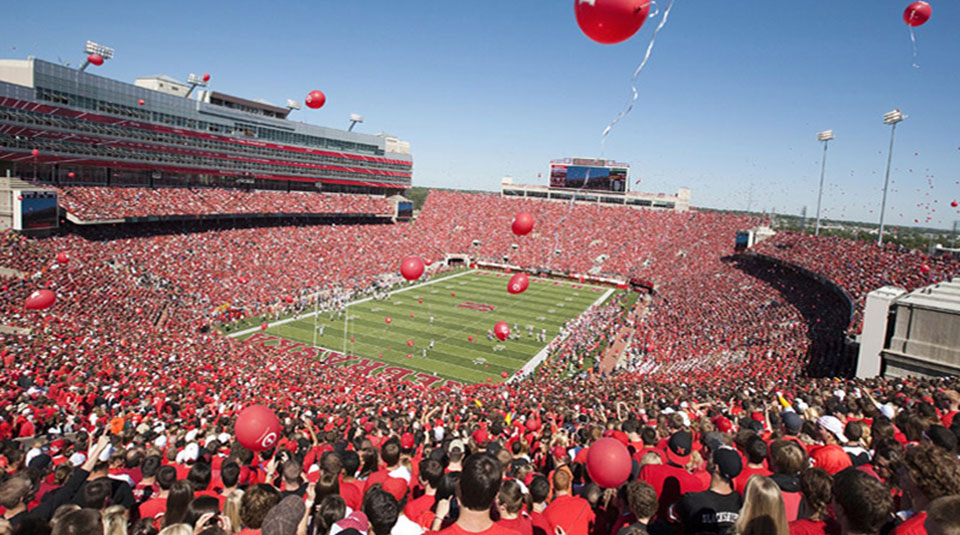 stock photo of unl stadium during game