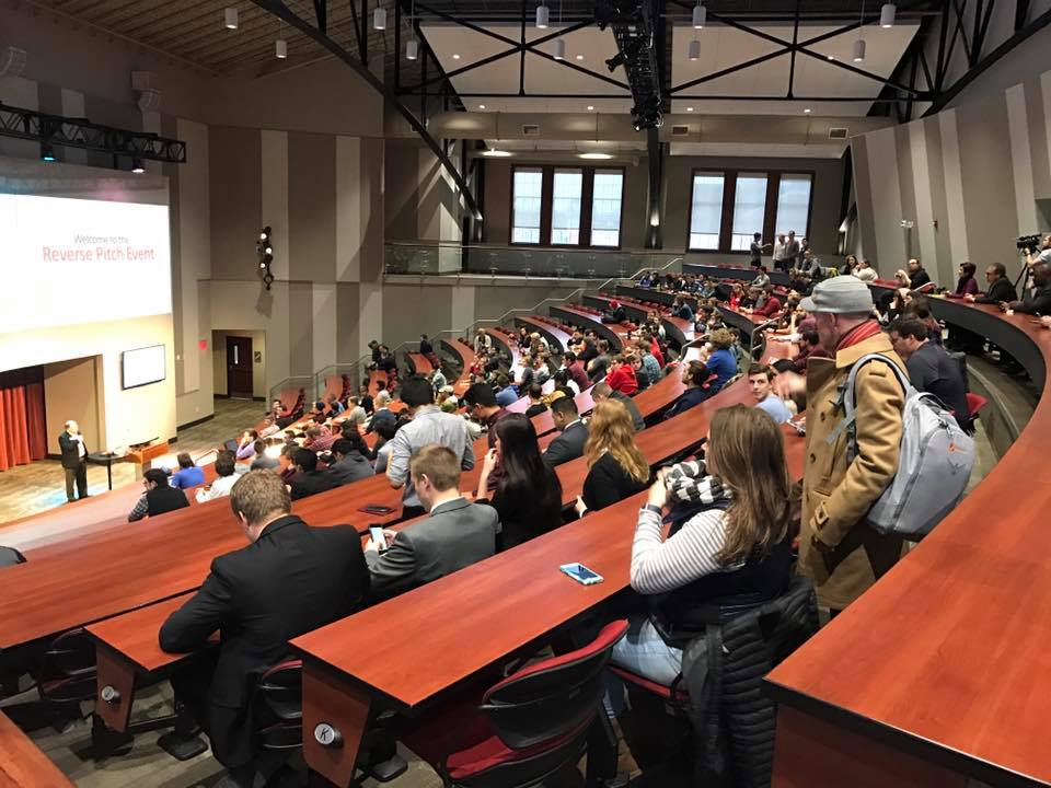 Students at Nebraska Innovation Campus in January for the Reverse Pitch event.