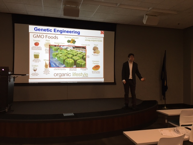 Max Pierobon speaking to Hastings students about synthetic biology.