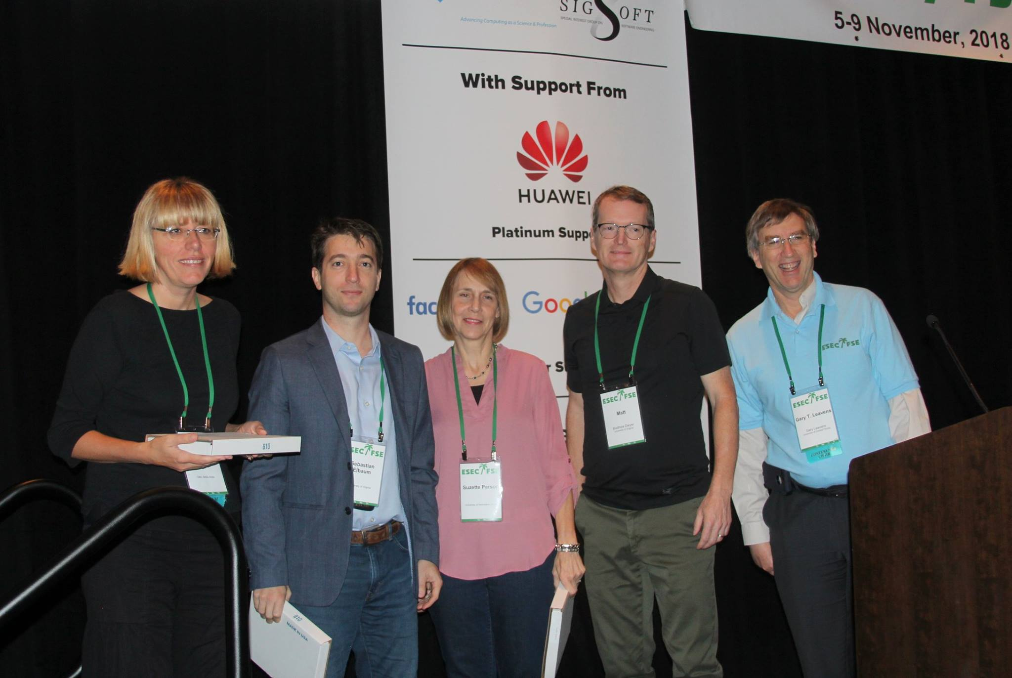 From left to right: Corina S. Pǎsǎreanu, Sebastian Elbaum, Suzette Person, Matthew Dwyer, and Gary Leavens.