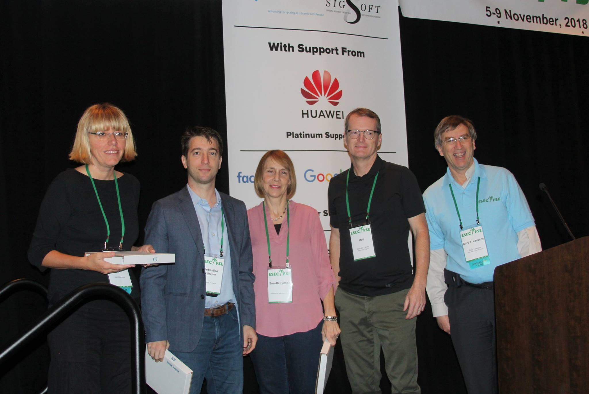 From left to right: Corina S. Pǎsǎreanu, Sebastian Elbaum, Suzette Person, Matthew Dwyer, and Gary Leavens.