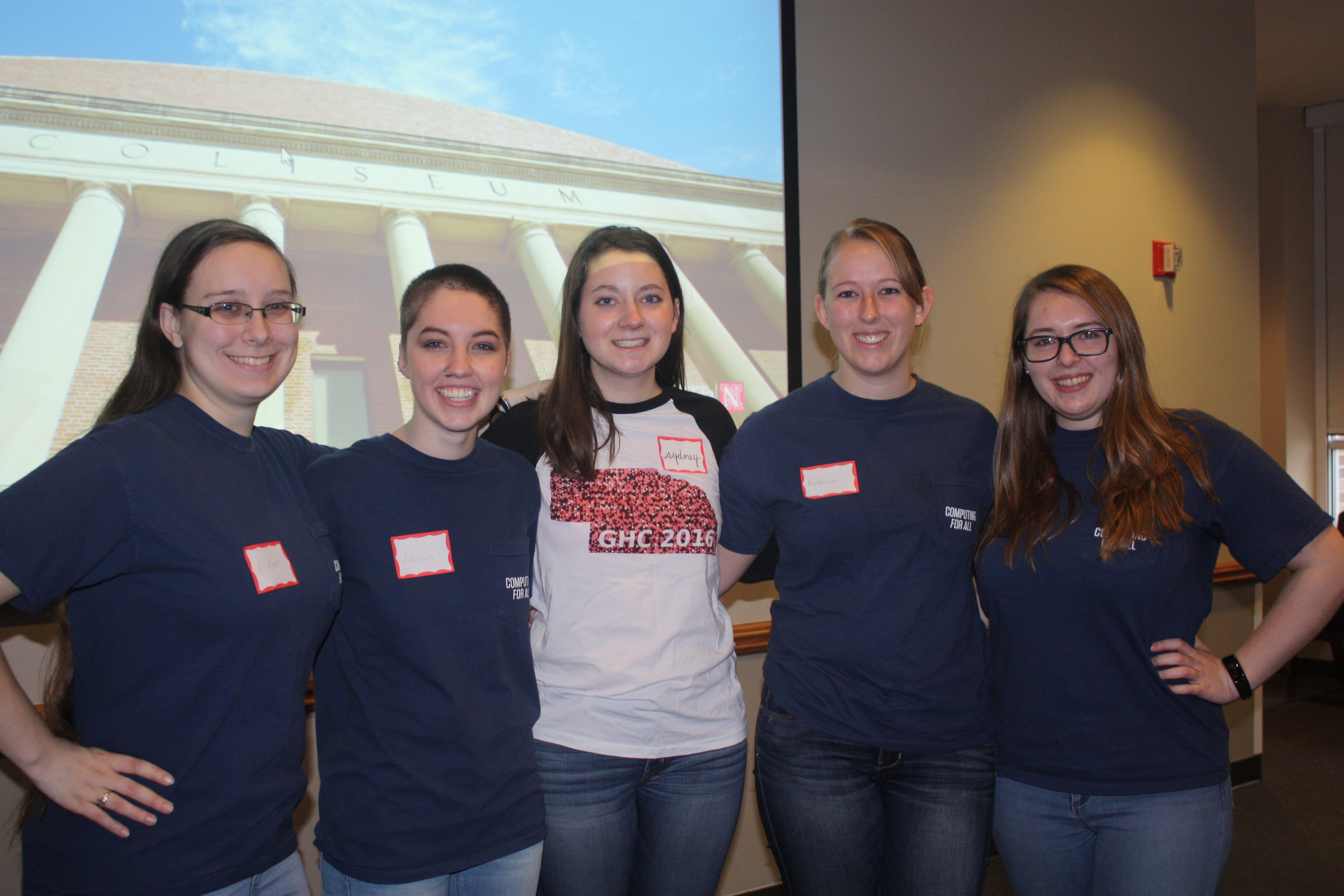 Computing for All members and CSE students Bridget Bailey, Allison Buckley, Sydney Goldberg, Rebecca Dahlman, and Melanie Powell serving as student mentors at the Girl Scouts CS Unplugged event.