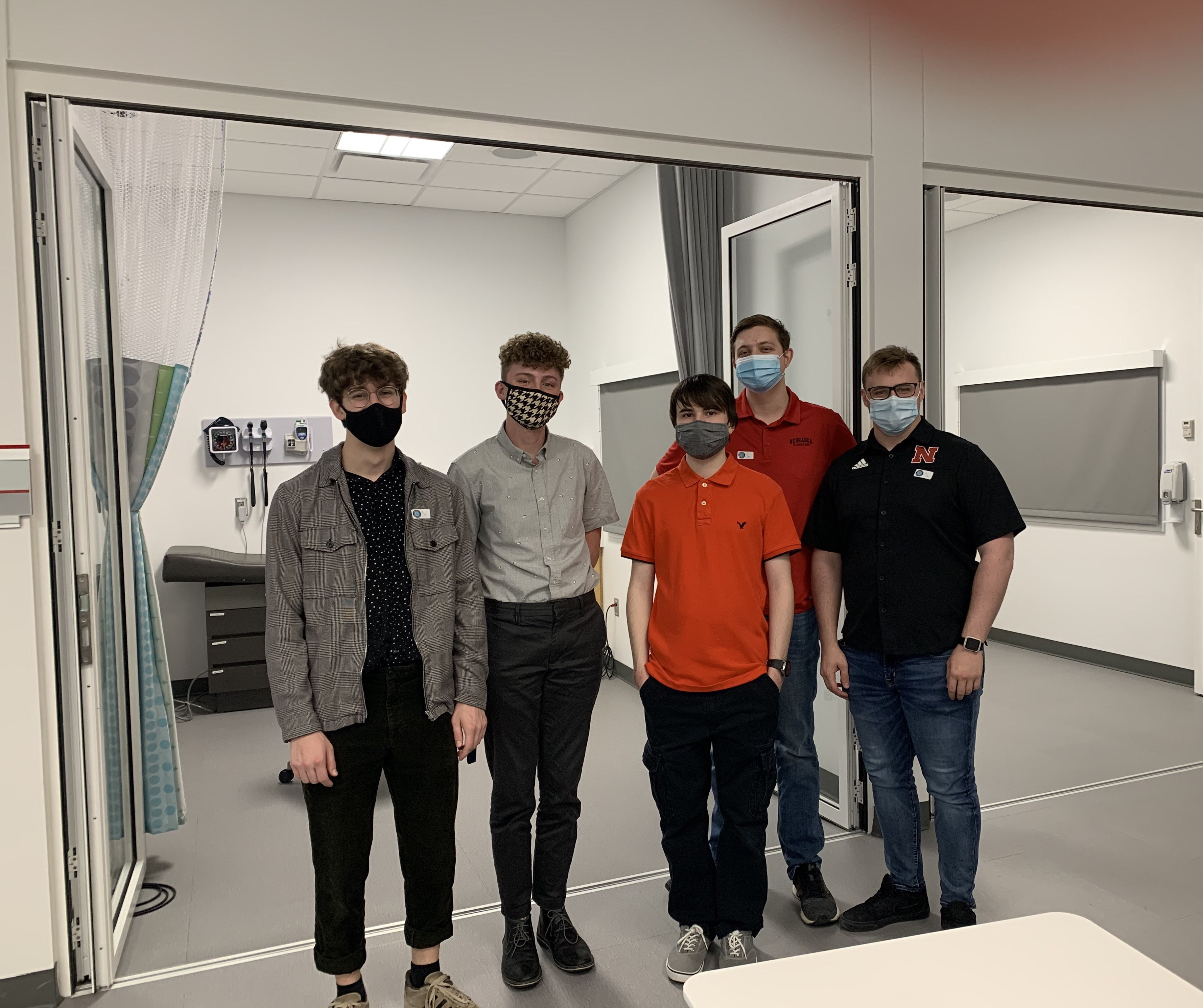 The Senior Design team at a demo meeting.
