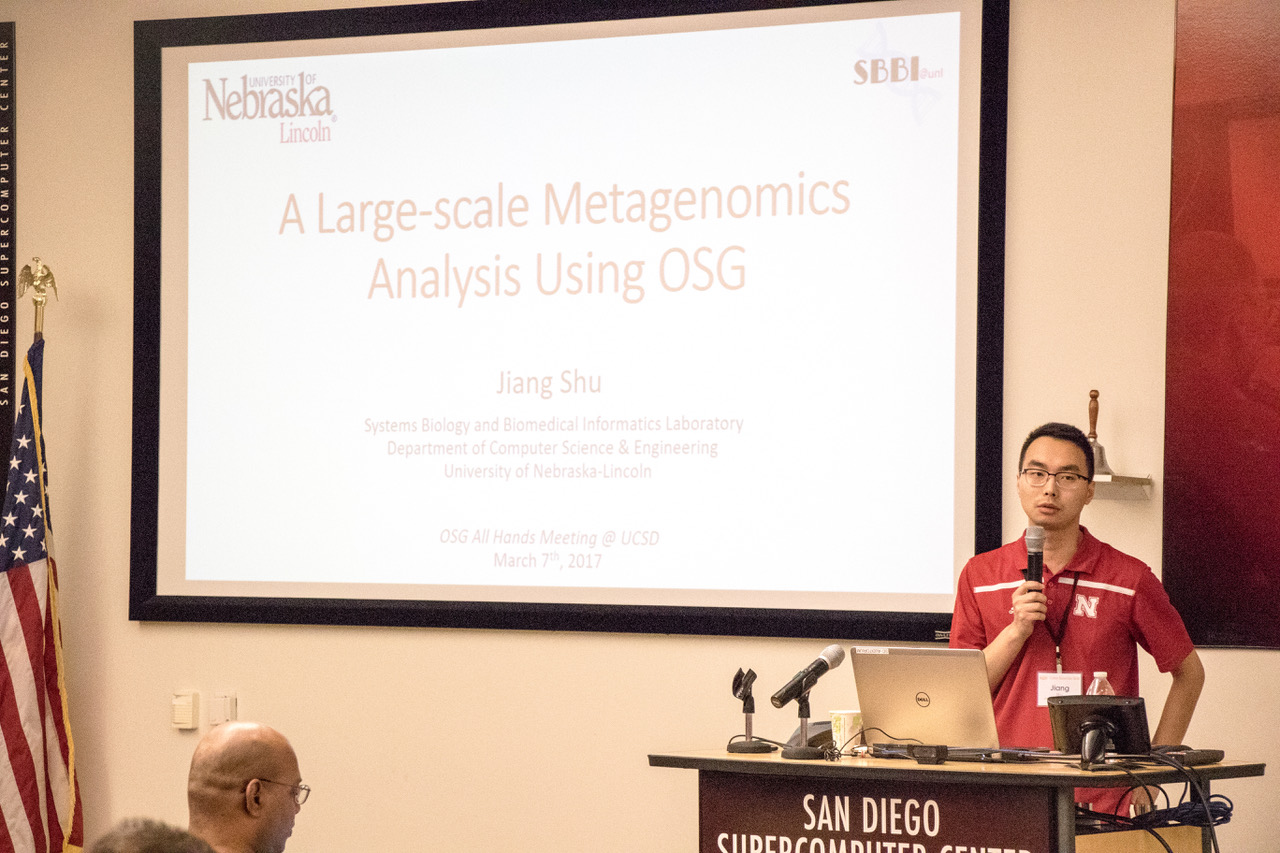 Jiang Shu presents at the All Hands Meeting in California in March.