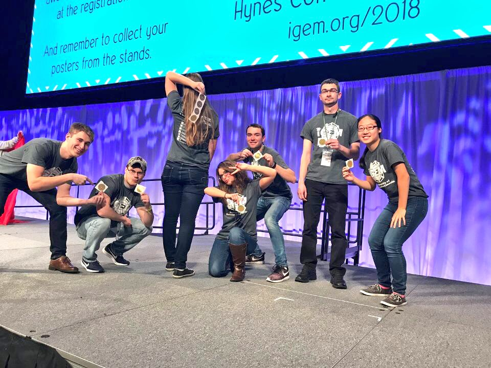 iGEM team students at the 2017 iGEM Giant Jamboree competition in Boston (photo courtesy of Twitter).