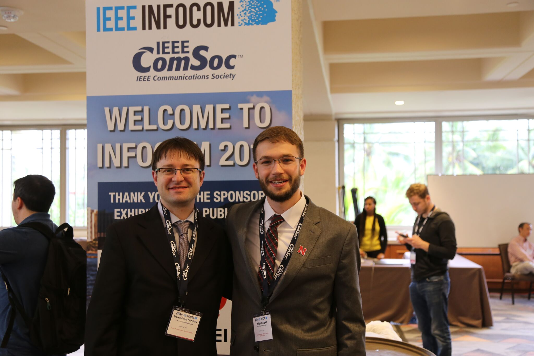 Massimiliano Pierobon and Colton Harper at IEEE INFOCOM 2018.