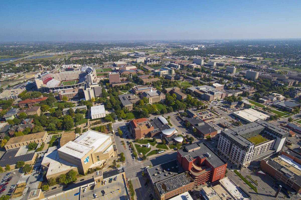An aerial view of Lincoln, Nebraska