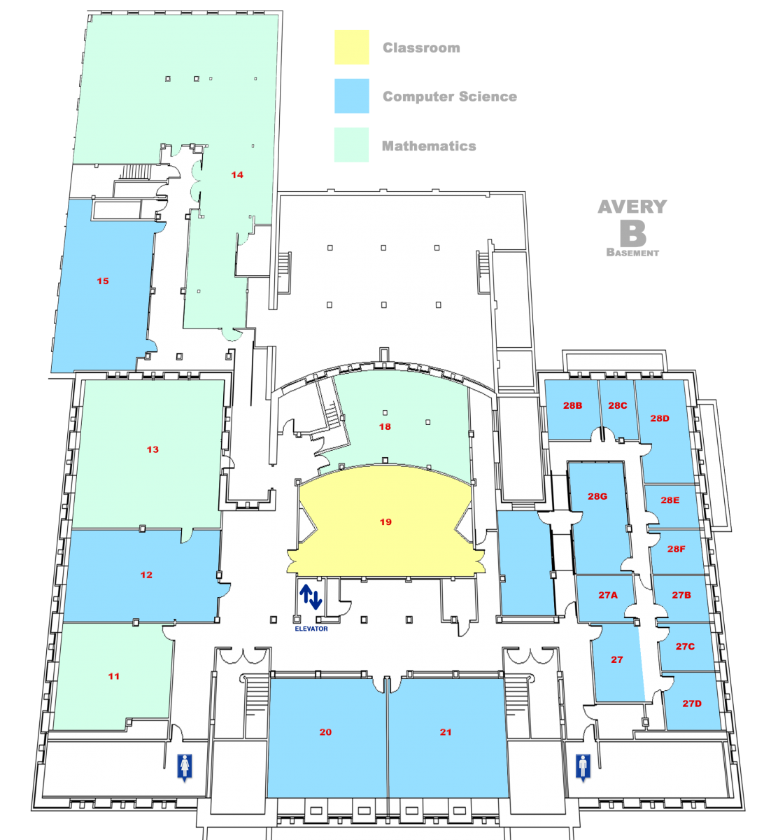 map of Avery Hall Basement