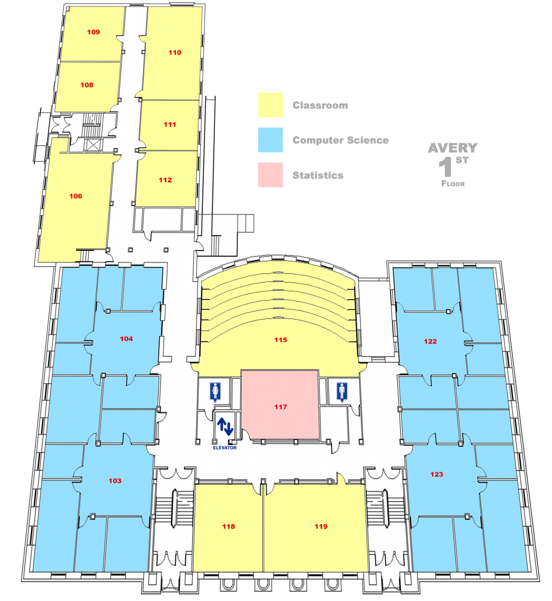 map of Avery Hall First floor