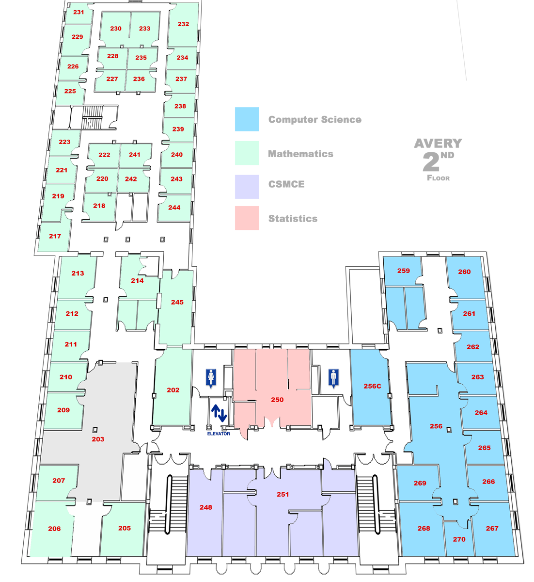 map of Avery Hall Second floor