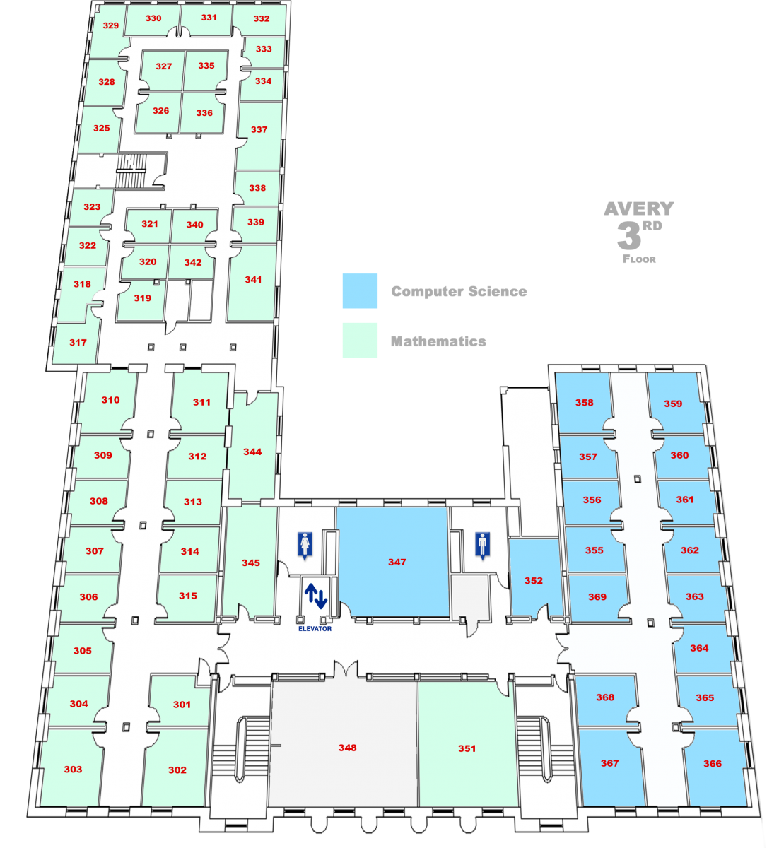 map of Avery Hall Third floor