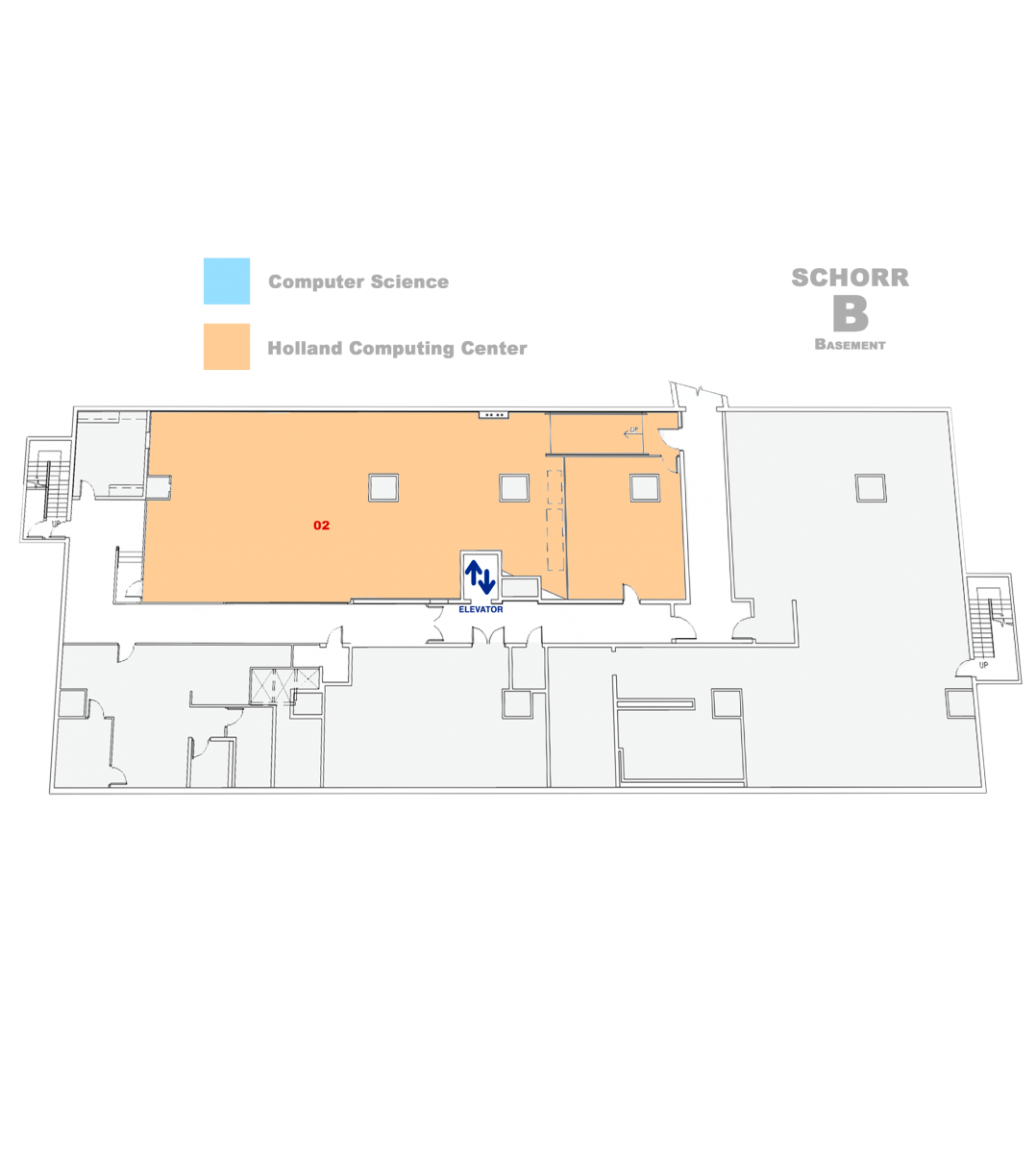 map of Schorr Basement
