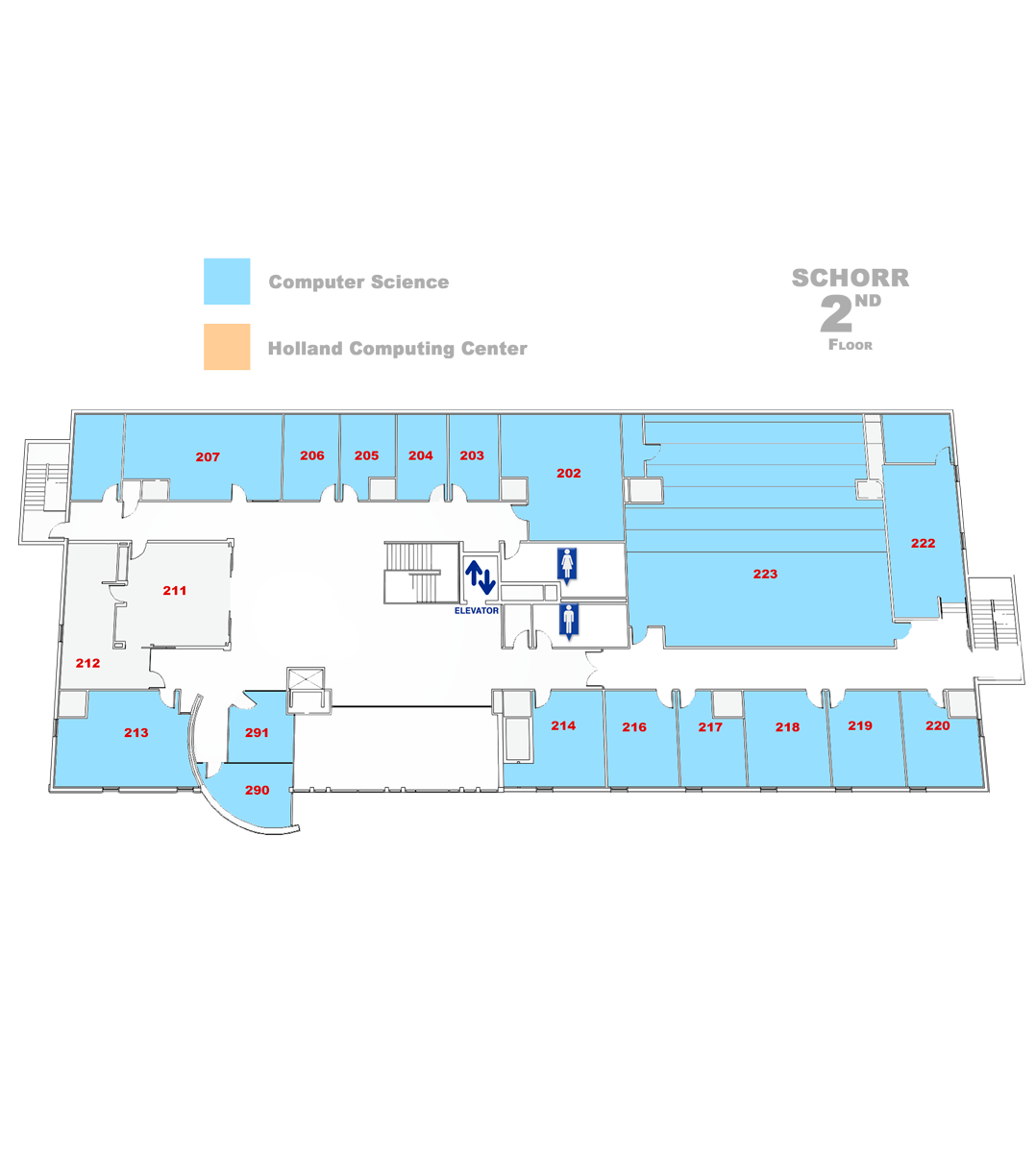 map of Schorr Second floor